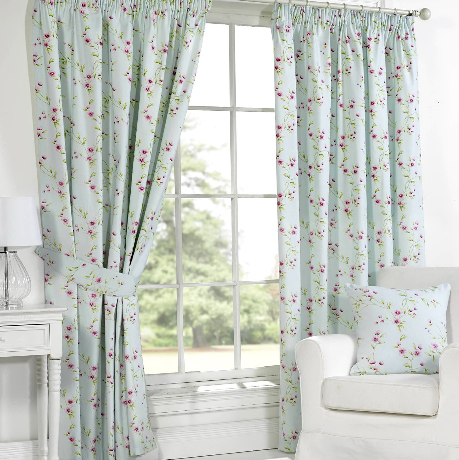 Duck Egg Blue Floral Curtains