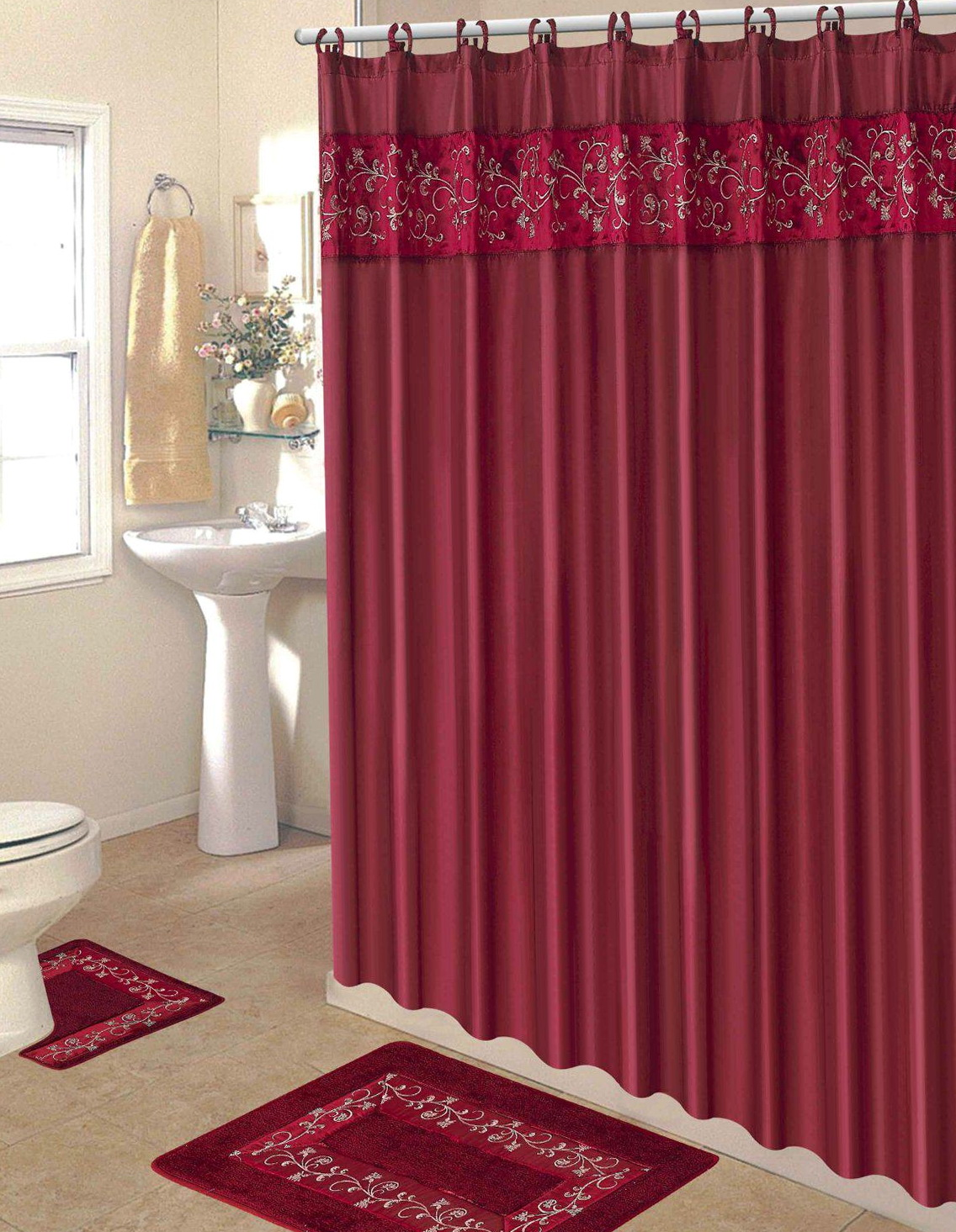 Maroon shower curtain set home design plan for Fall bathroom sets