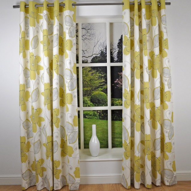 Floral Print Curtain Panels