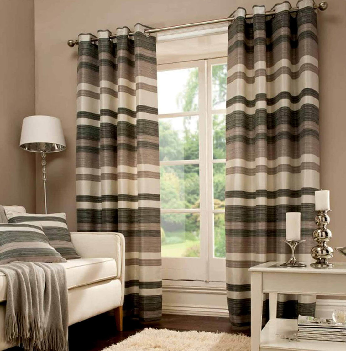 Gray And Cream Striped Curtains
