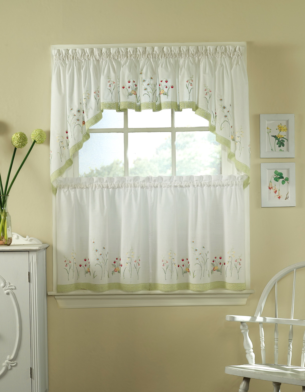 Green And White Kitchen Curtains Home Design Ideas