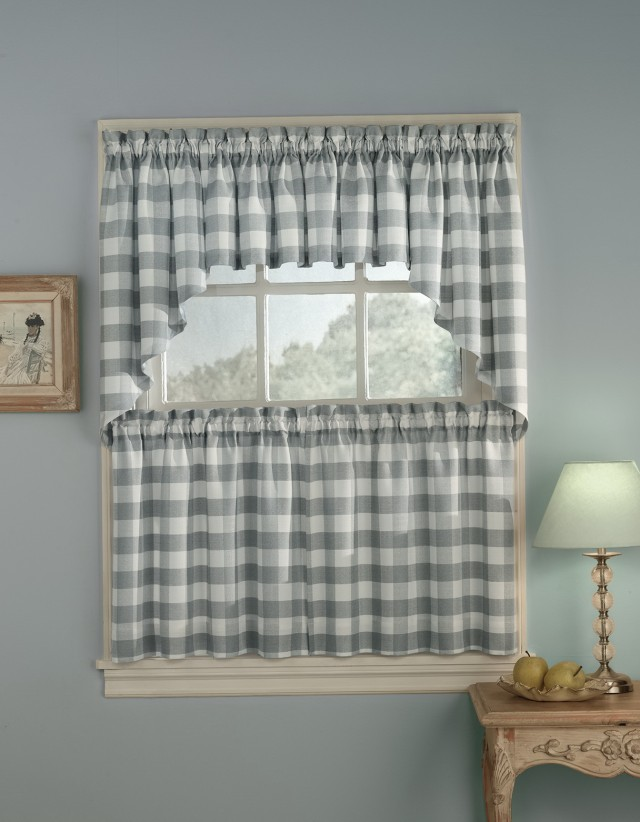 Grey And White Kitchen Curtains