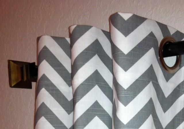 Grey Chevron Curtain Panels