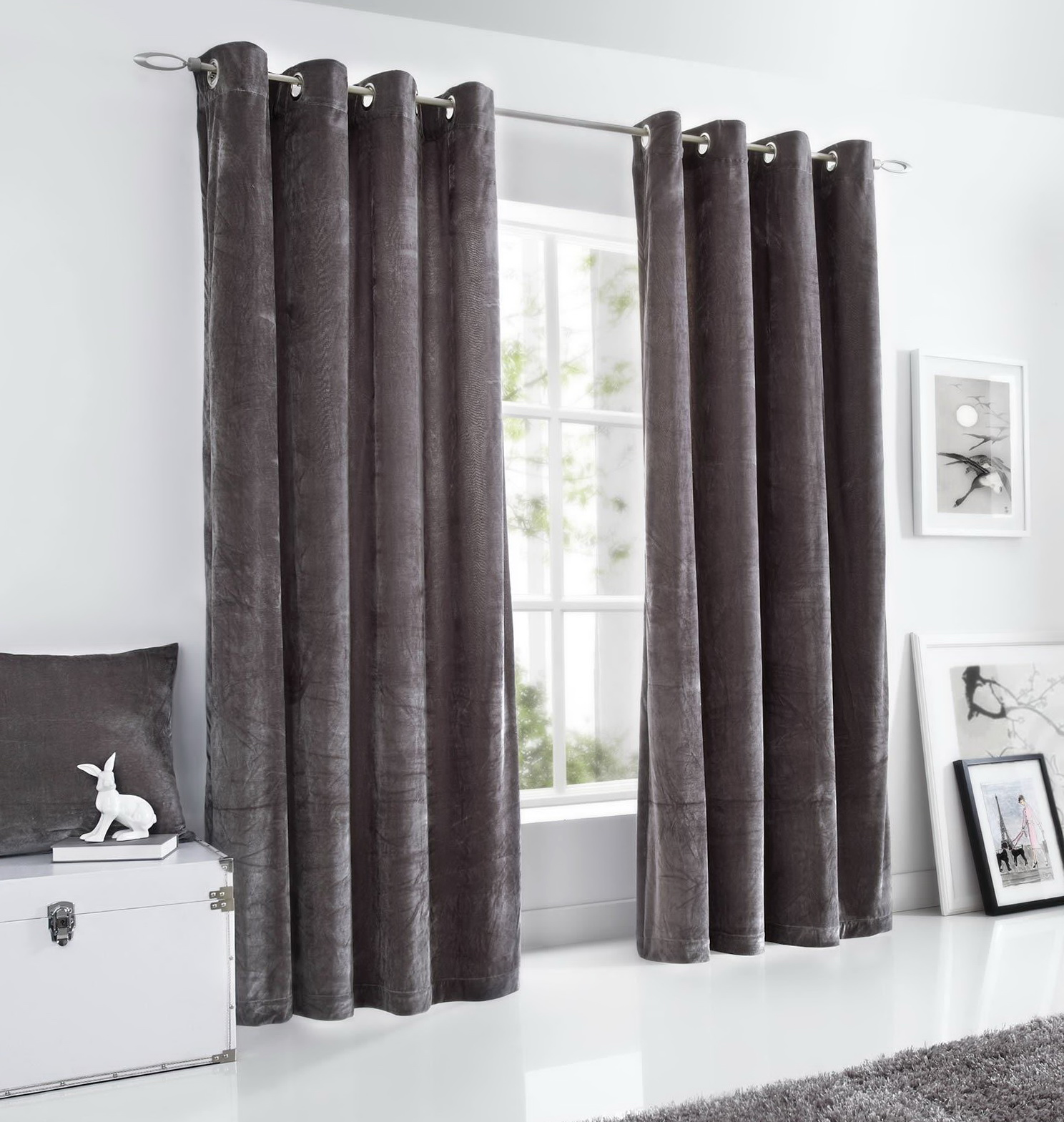 Grey Velvet Curtains Uk