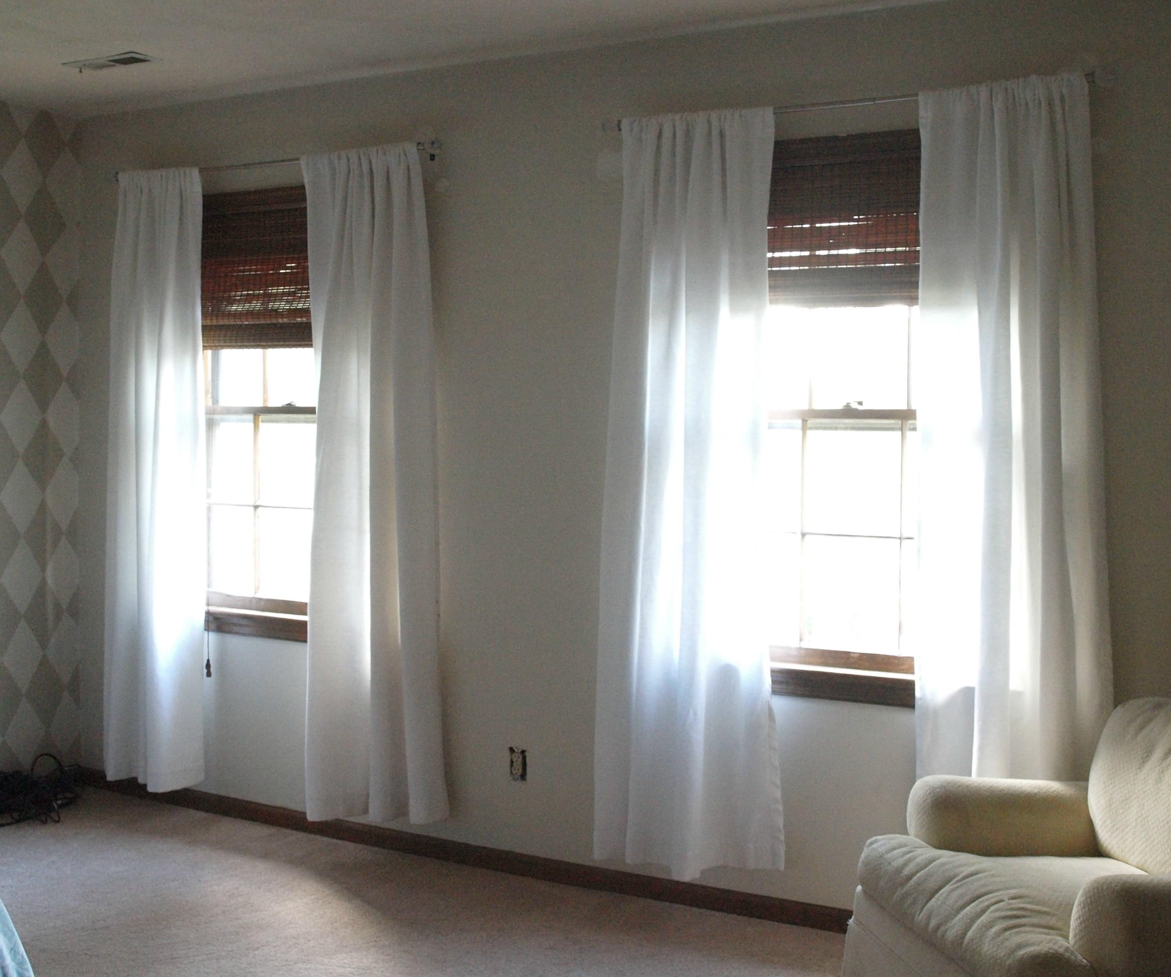 makeover ikea progress plain lenda diy from striped nursery curtains white curtain the inspired suddenly