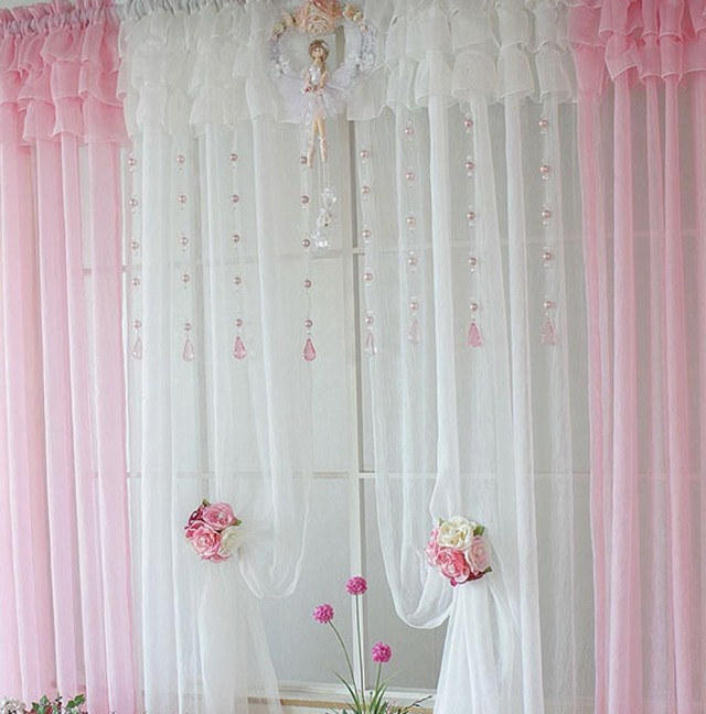 Light Pink And White Curtains