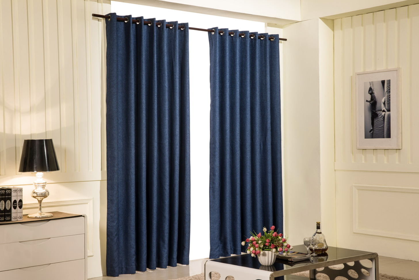 navy blue blackout curtains 63 home design ideas. Black Bedroom Furniture Sets. Home Design Ideas