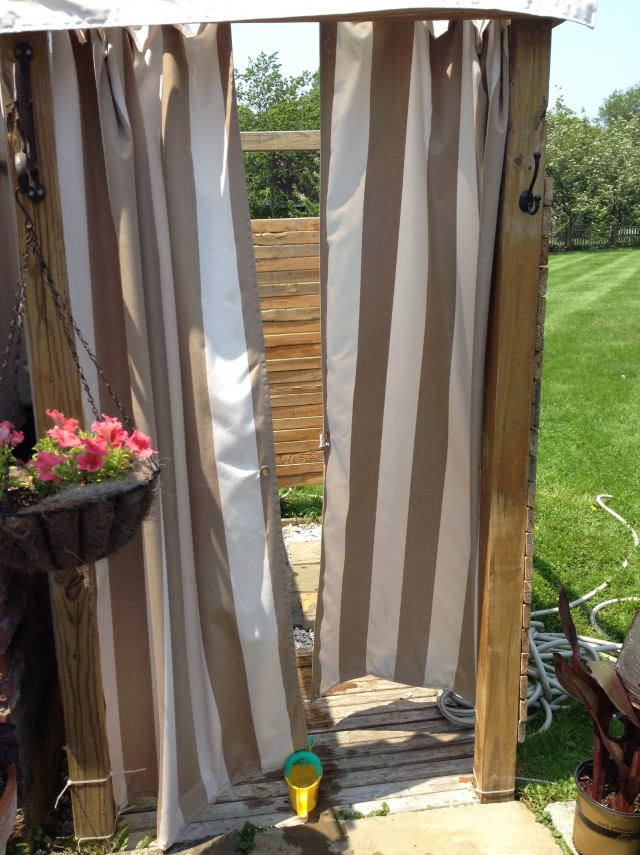 Outdoor Shower Curtain Enclosure Home Design Ideas