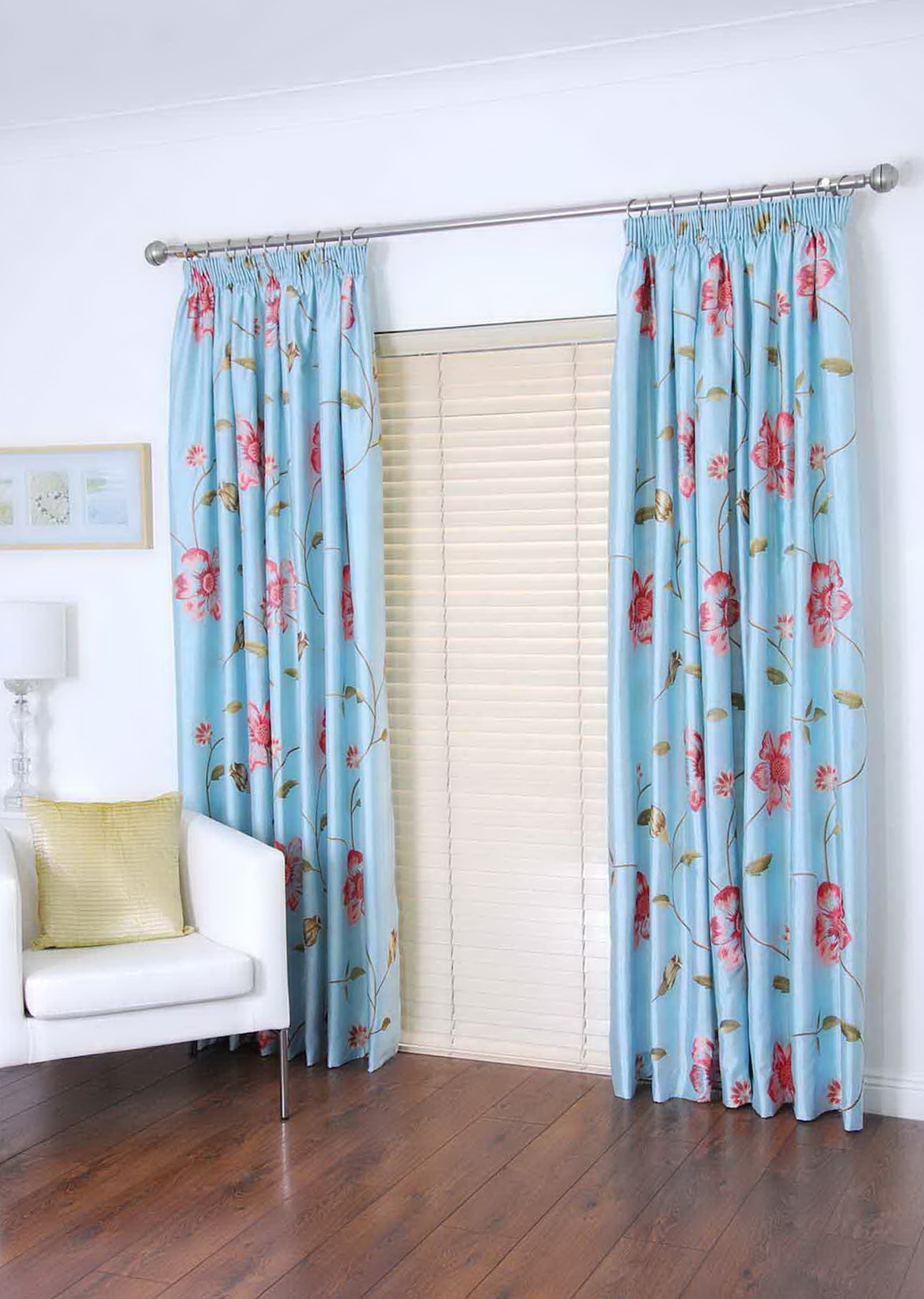 Pink And Blue Floral Curtains
