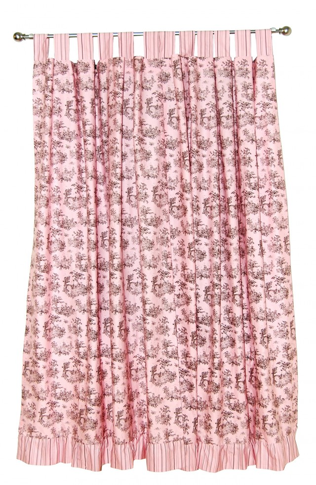 Pink And Brown Curtain Panels