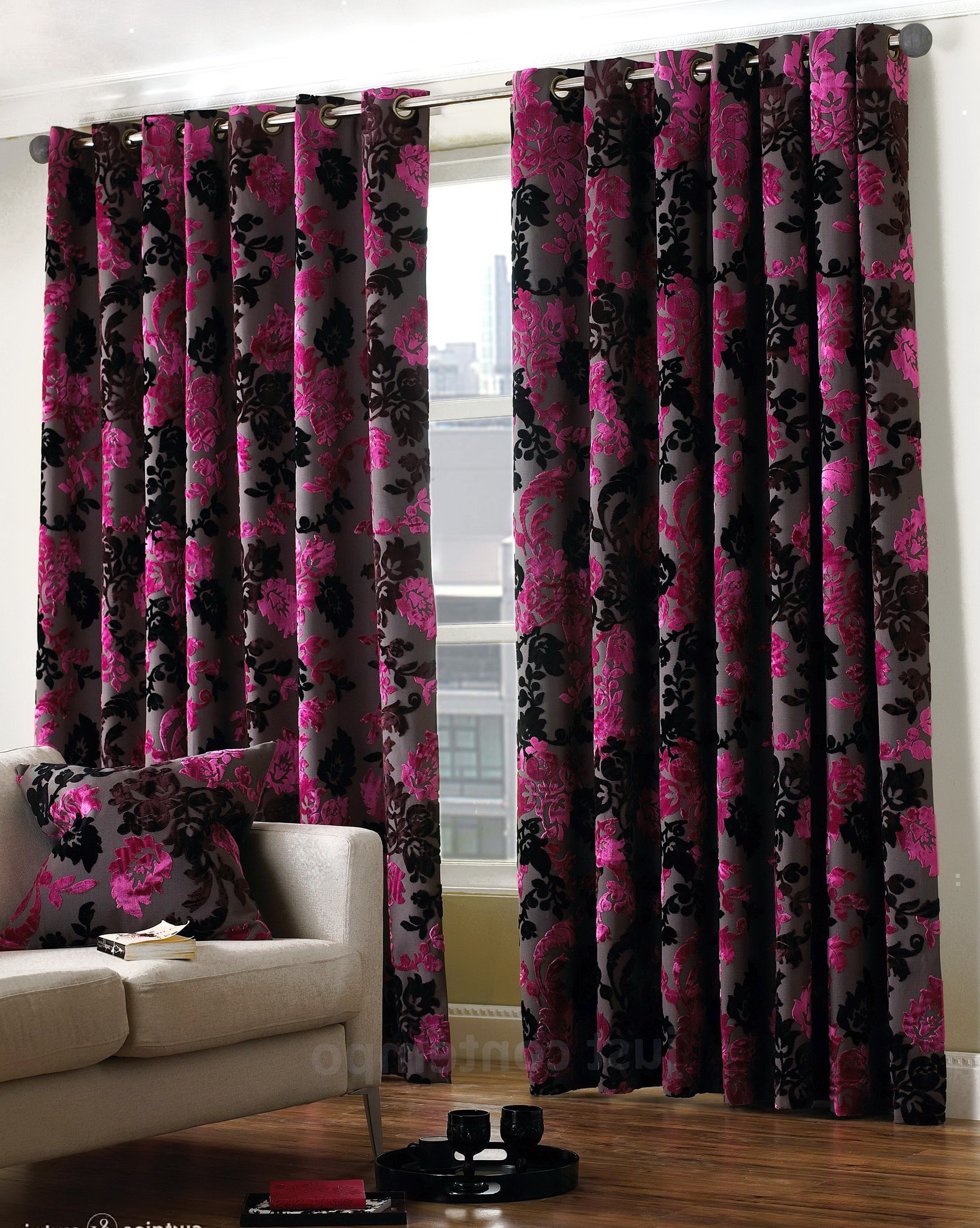 Pink Black And White Curtains