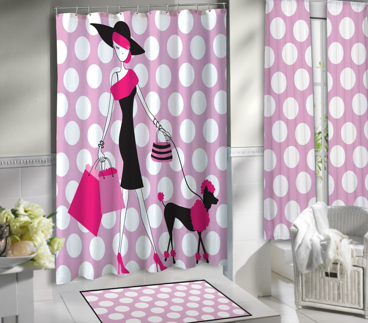 Pink Polka Dot Shower Curtains
