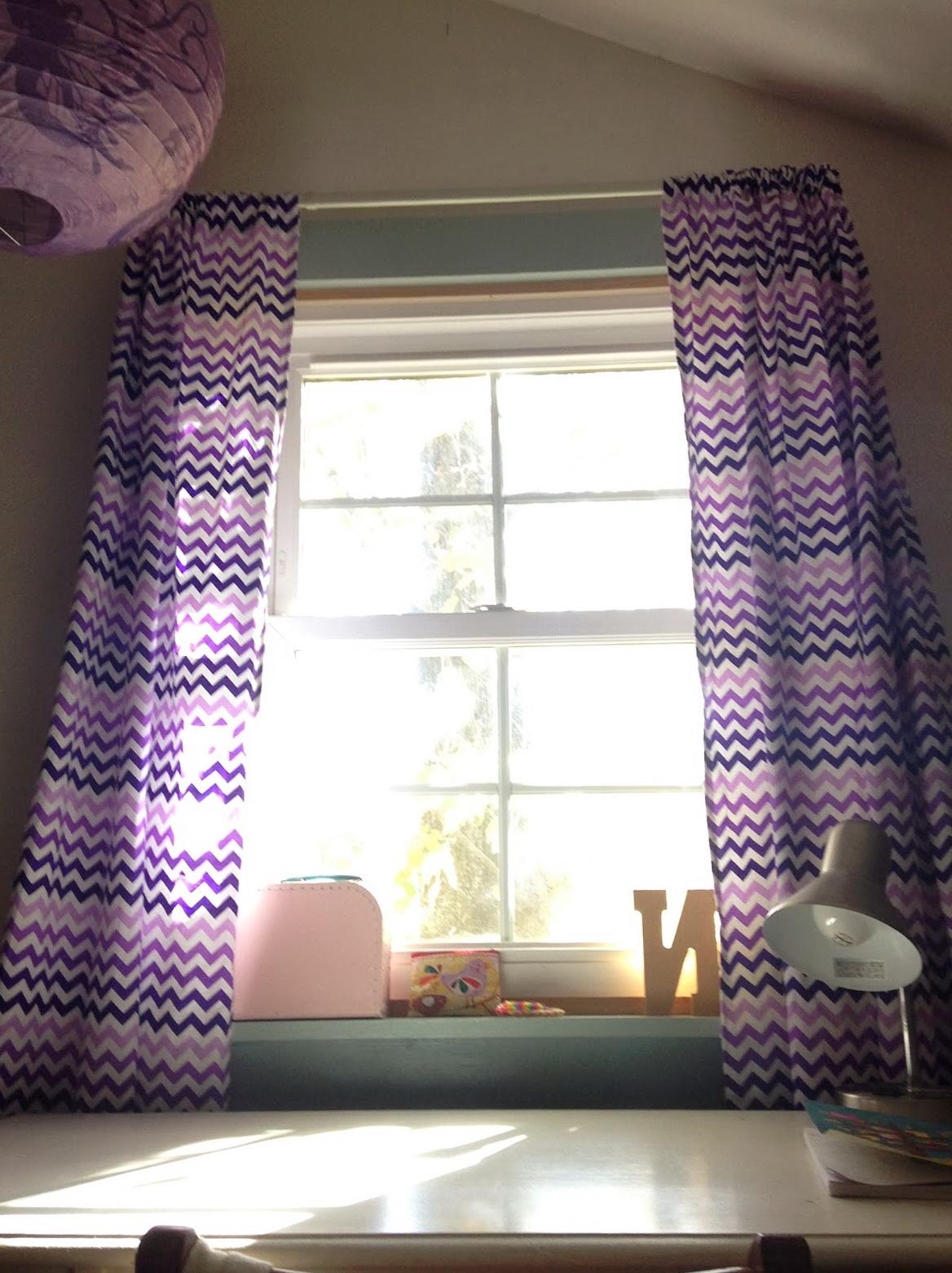 Purple Chevron Window Curtains