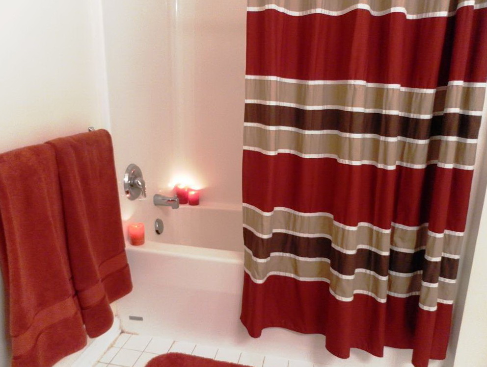 Red And Grey Shower Curtains Home Design Ideas