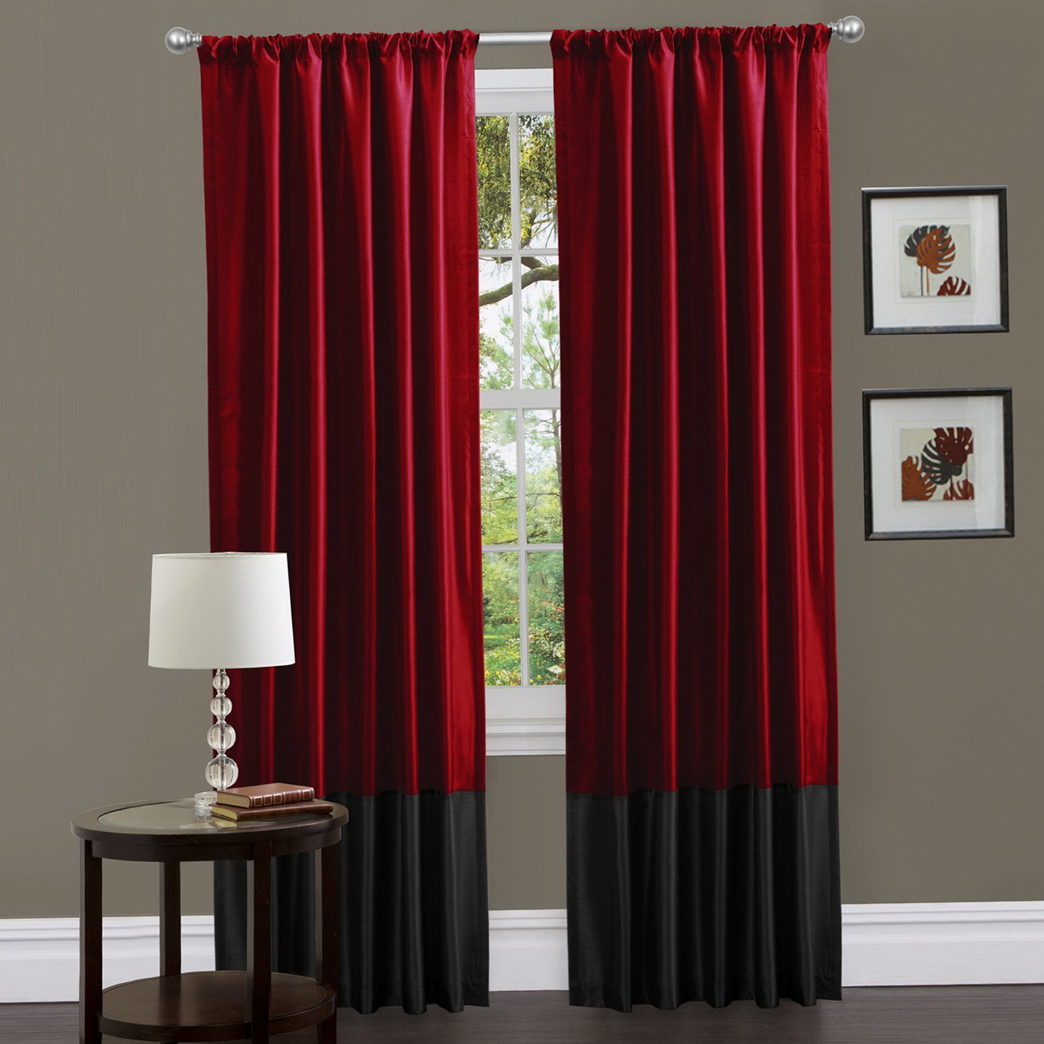 red black and white window curtains home design ideas. Black Bedroom Furniture Sets. Home Design Ideas