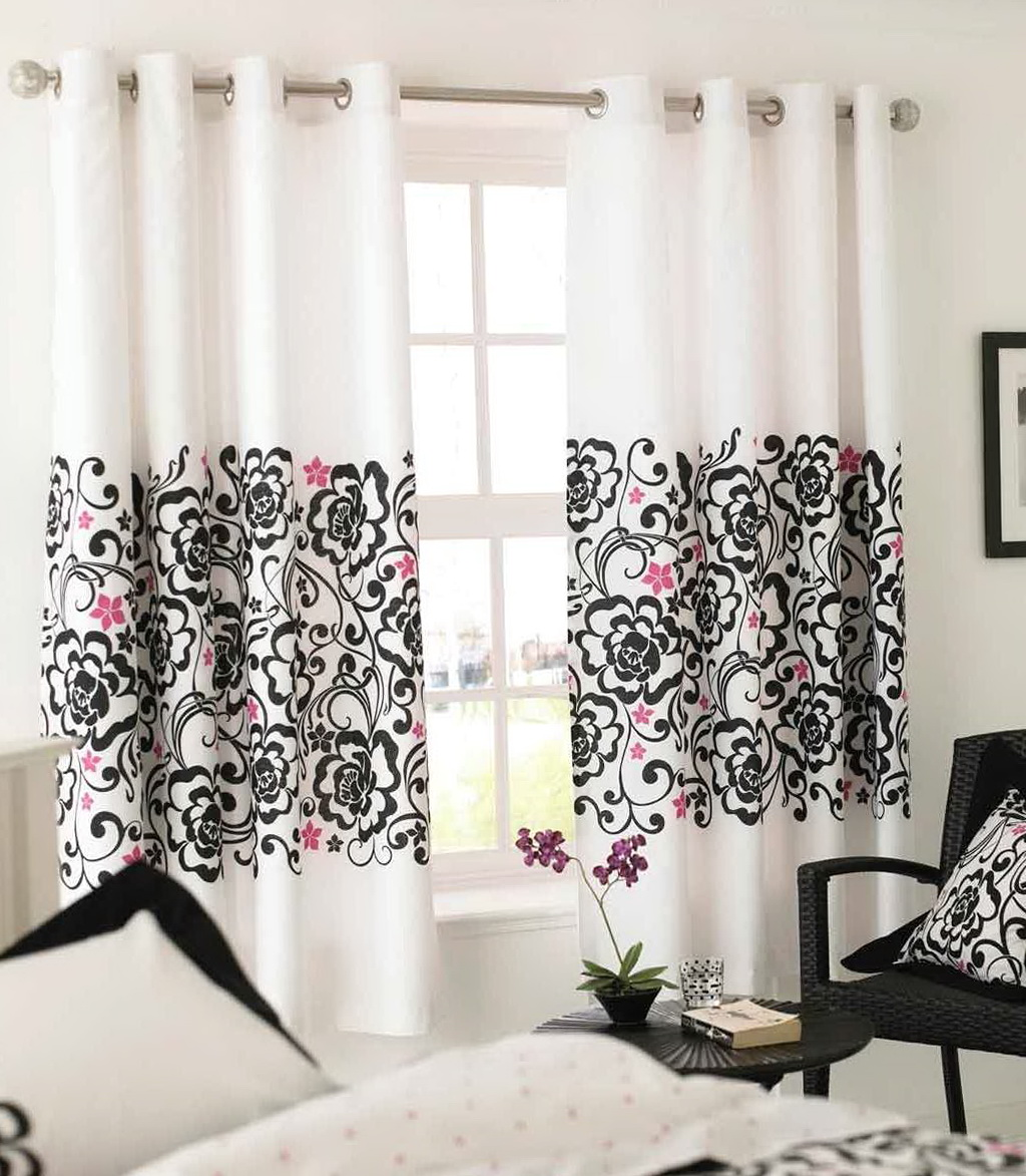 Red Black White Curtains
