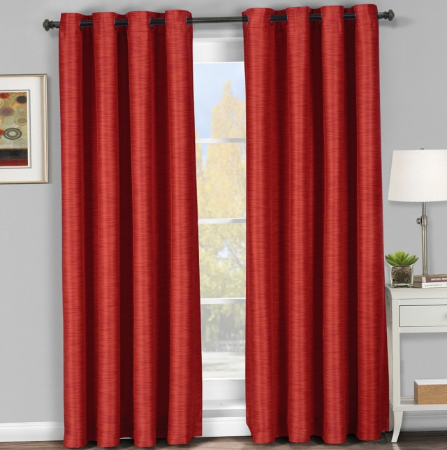 Red Blackout Curtains Eyelet