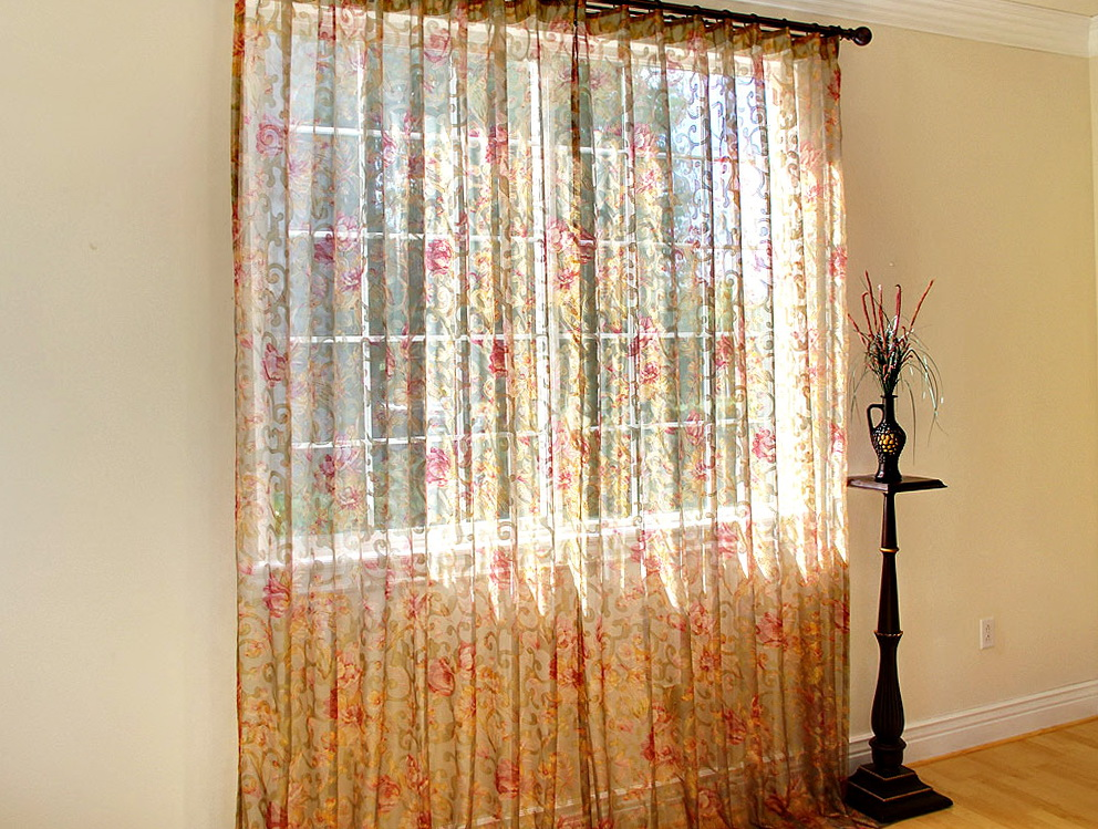 Sheer Floral Curtain Panels