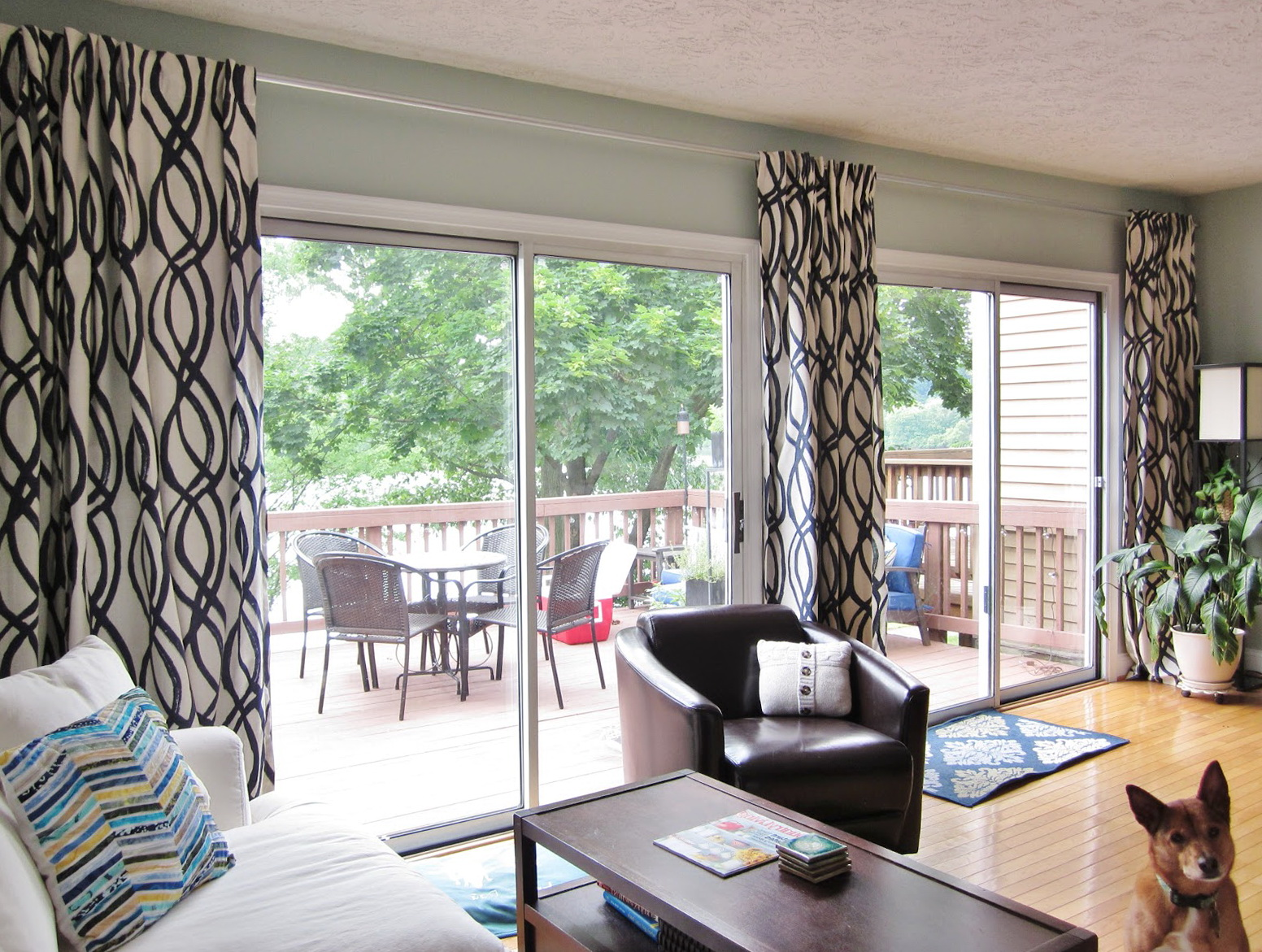 sliding door curtain rod home design ideas. Black Bedroom Furniture Sets. Home Design Ideas