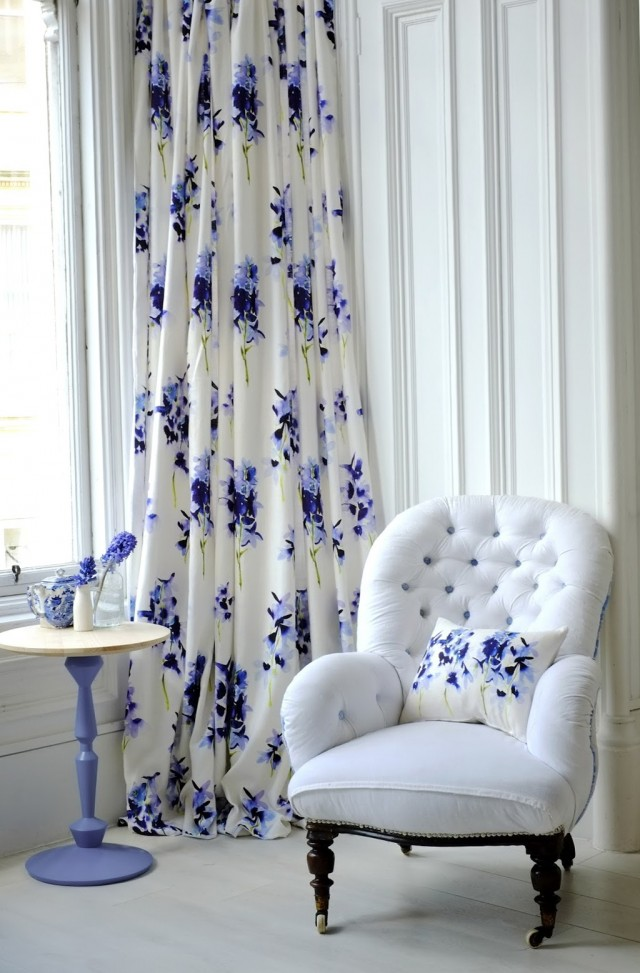 White And Blue Floral Curtains