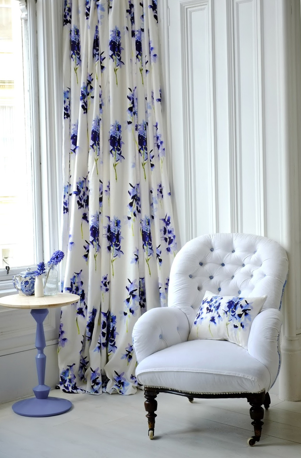 White And Blue Floral Curtains Home Design Ideas