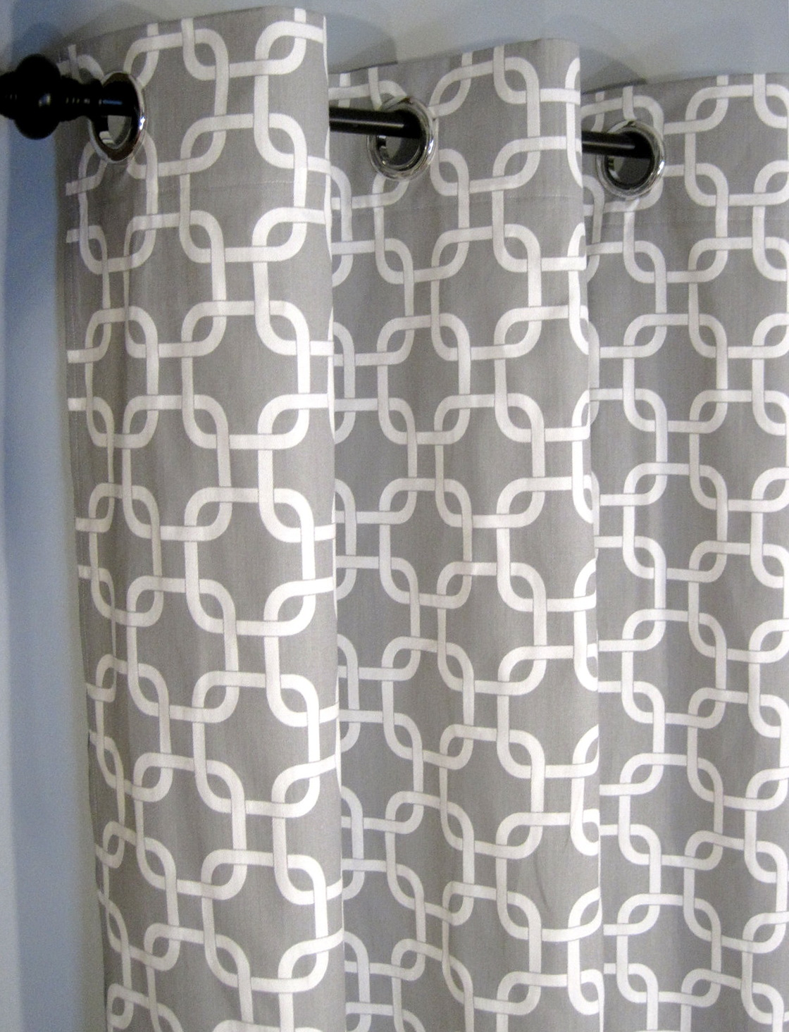 White And Grey Curtain Panels