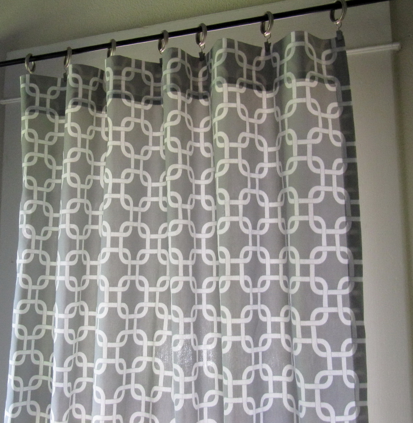 White And Grey Patterned Curtains