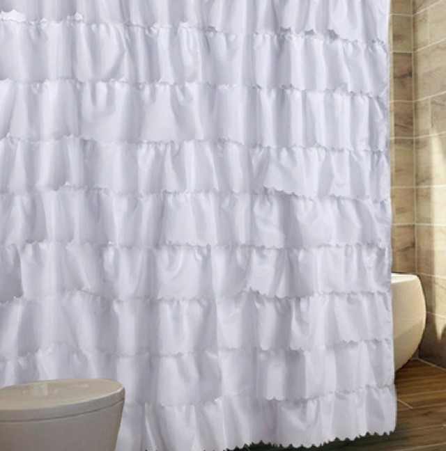 White Cotton Ruffle Shower Curtain