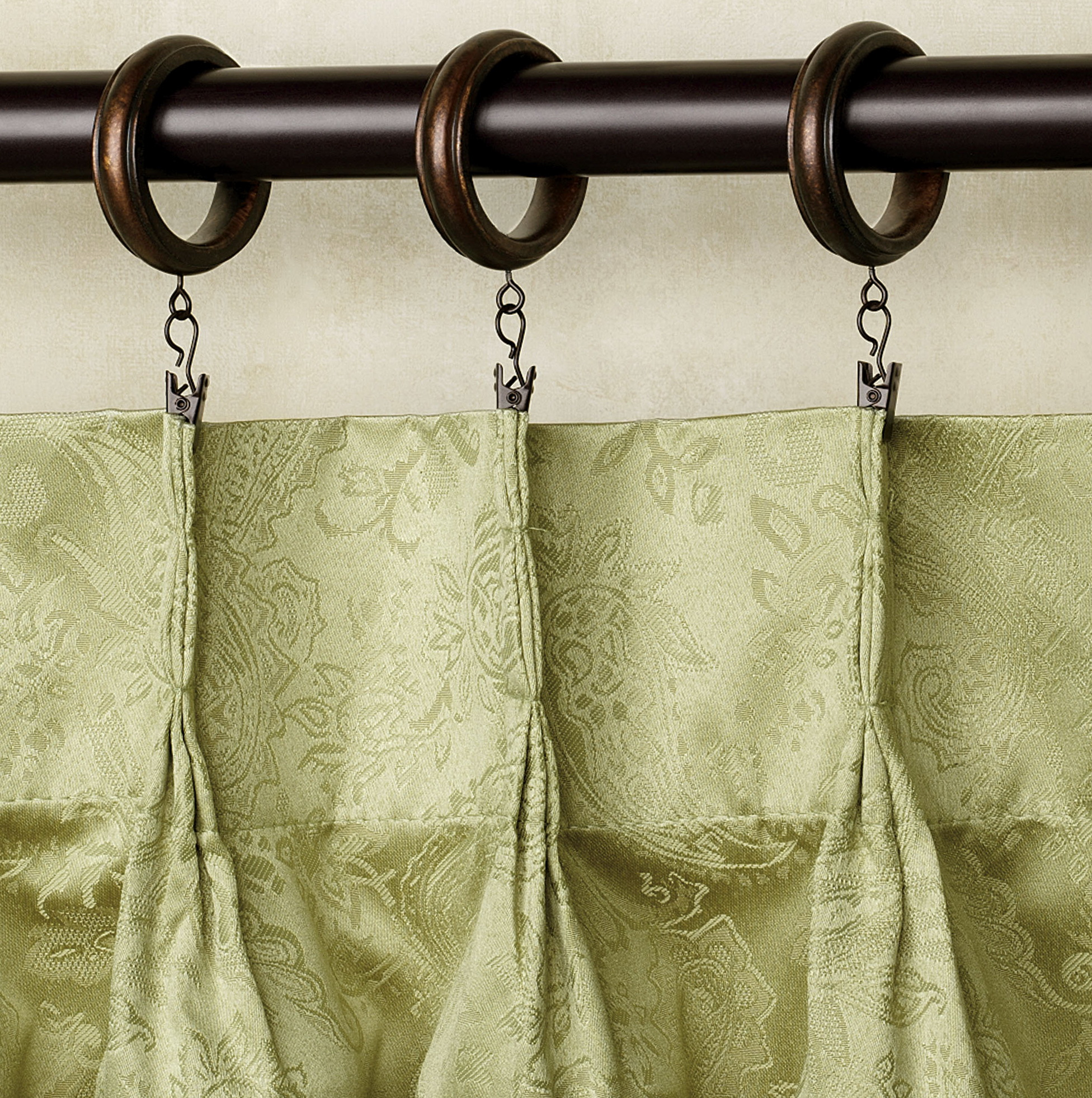 itm rail set pole curtain double wooden poles clips bracket rings classic curtains