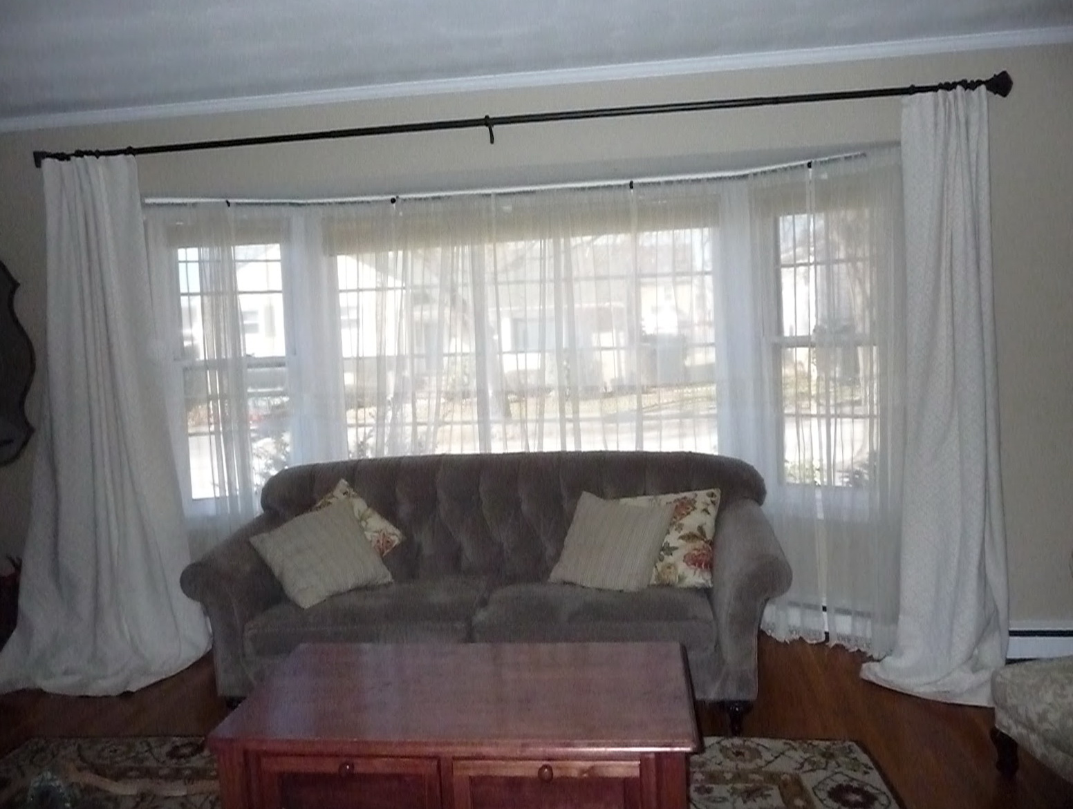 Bay 3 window curtains home design ideas for 3 window curtain design