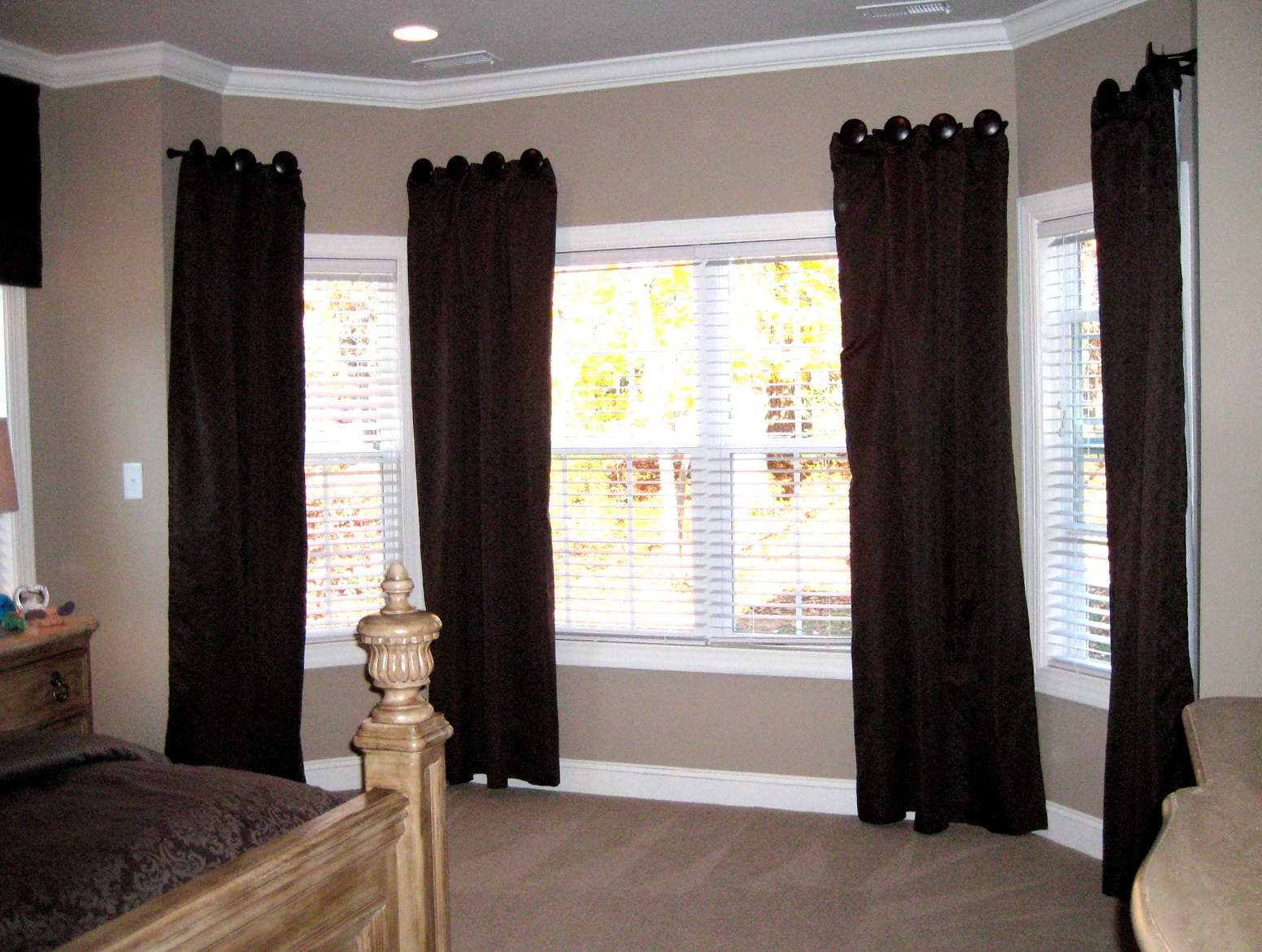 bay window curtain ideas for living room home design ideas