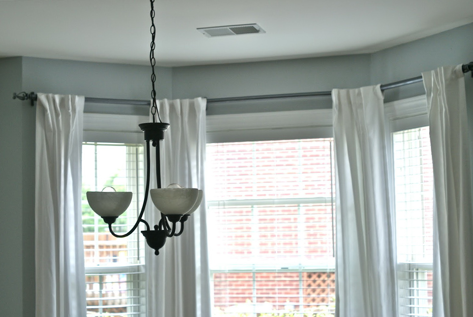 Bay Window Curtain Pole Ceiling Mounted Home Design Ideas