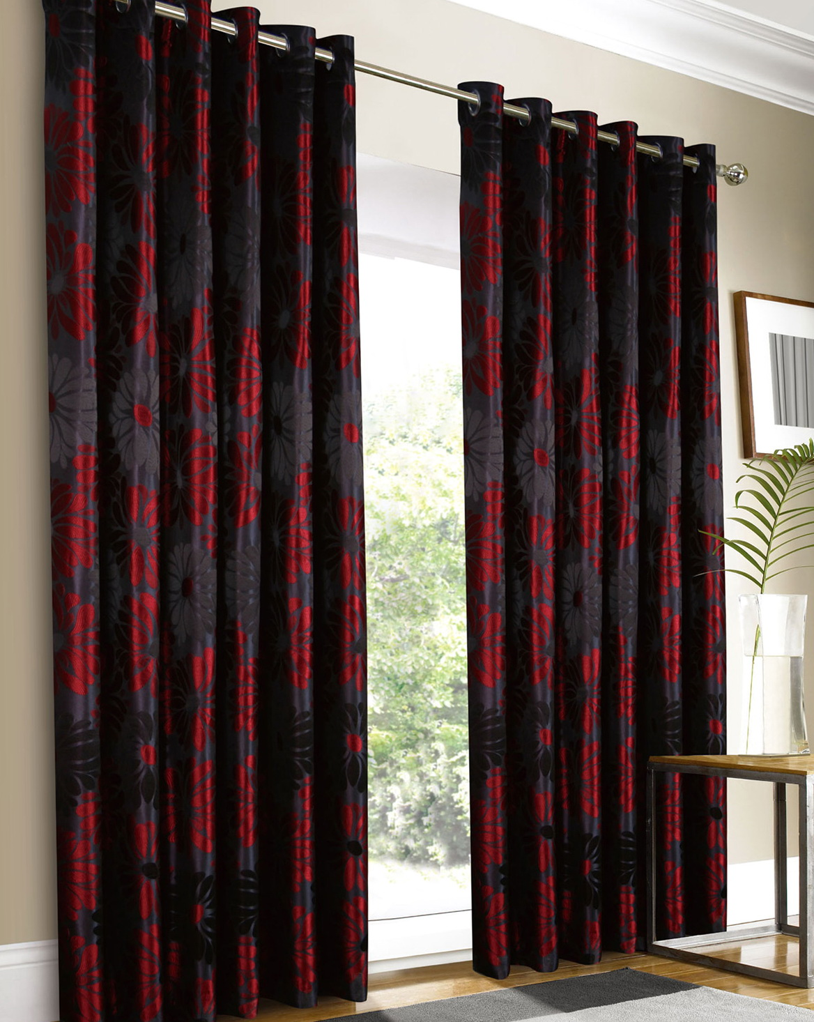 Black Red And Grey Curtains Home Design Ideas