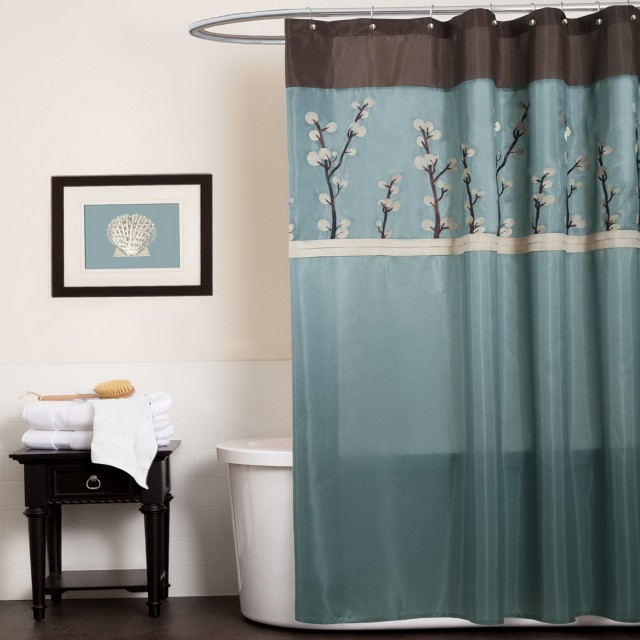 Blue And Chocolate Brown Curtains