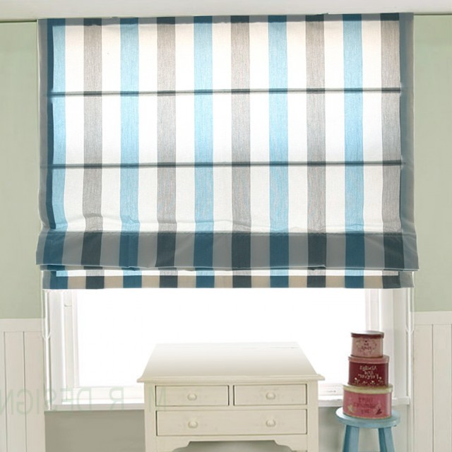 Blue Grey Striped Curtains