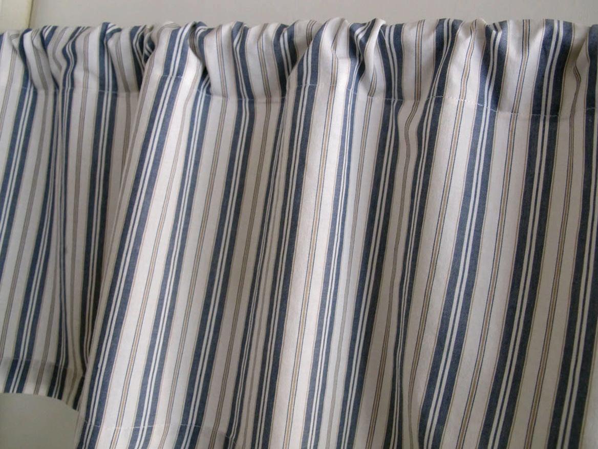 Blue Ticking Stripe Curtains