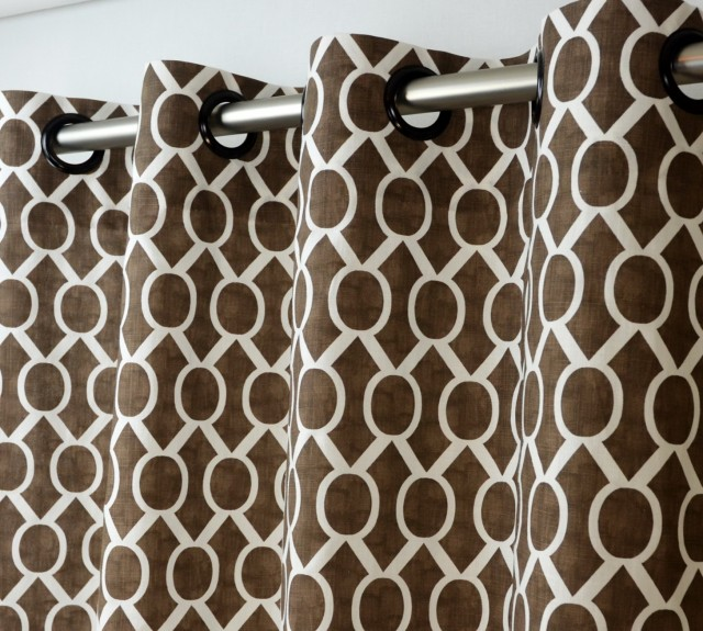 Brown And White Geometric Curtains