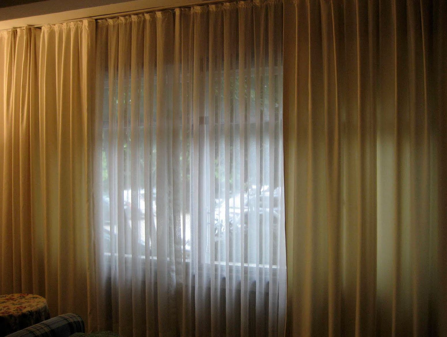 Cream colored sheer curtains home design ideas for Sheer panel curtain ideas