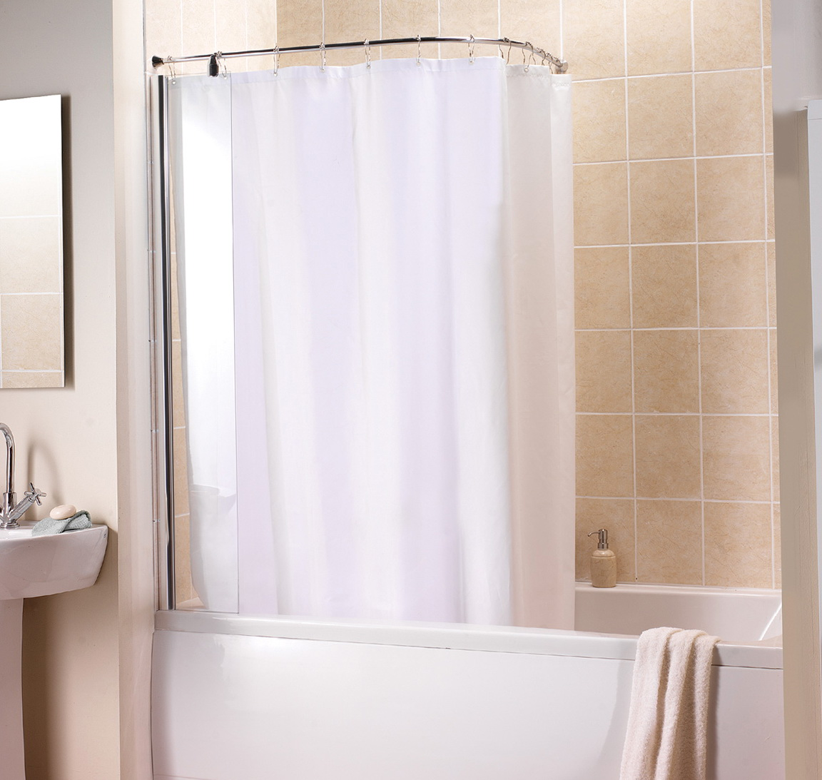 Curved Shower Curtain Track Home Design Ideas