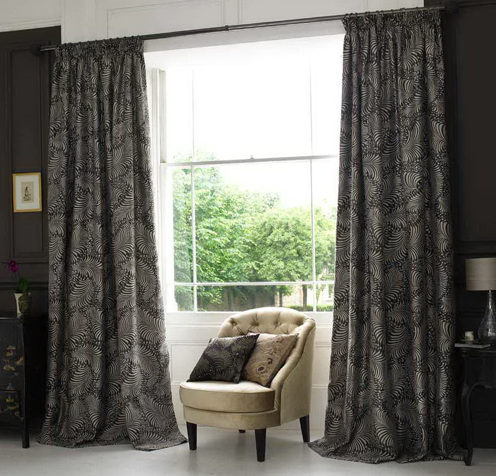 dark gray curtains living room home design ideas. Black Bedroom Furniture Sets. Home Design Ideas