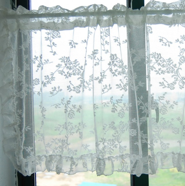 Embroidered Sheer Curtains White