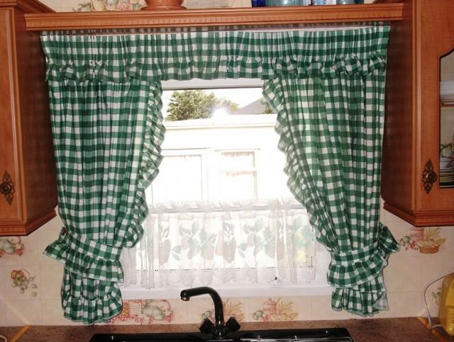 Green Plaid Kitchen Curtains