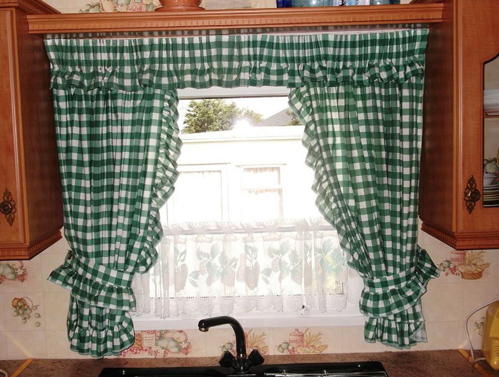 Green With Navy Plaid Curtain Panels