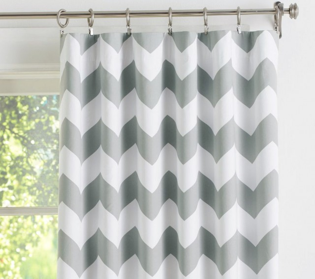 Grey Chevron Window Curtains