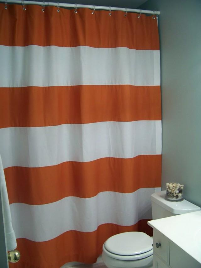 Gray horizontal striped curtains