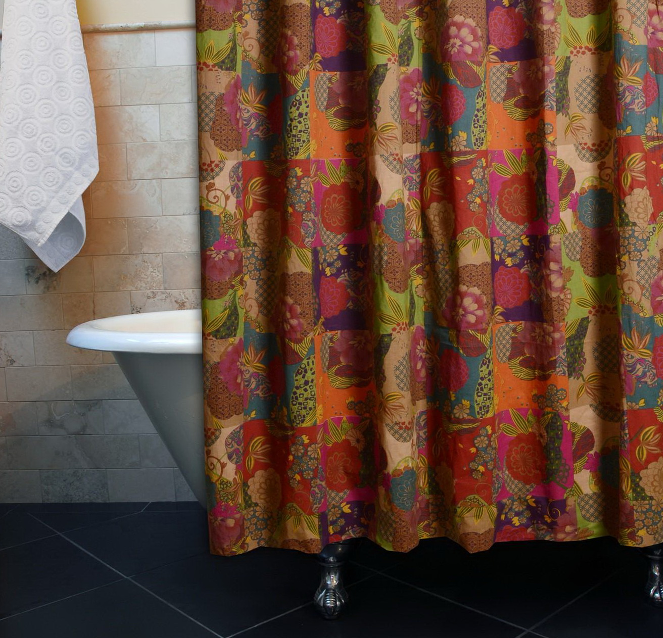 Multi color shower curtains home design ideas Colorful shower curtains