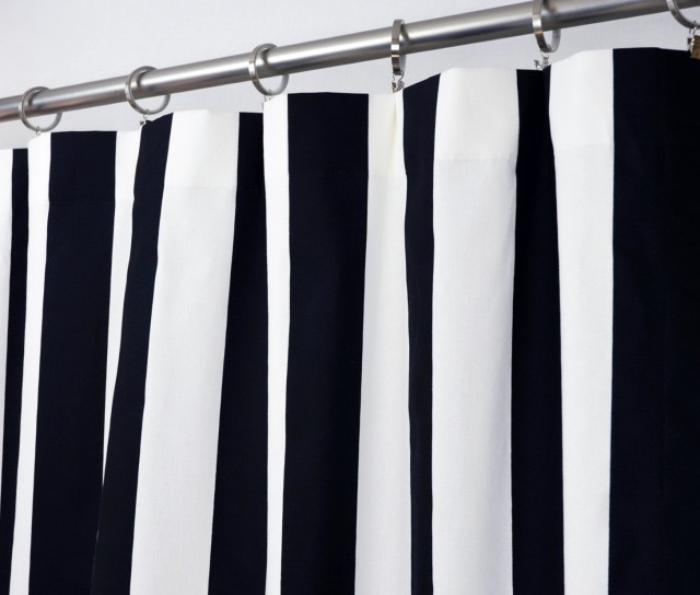 Navy And White Patterned Curtains