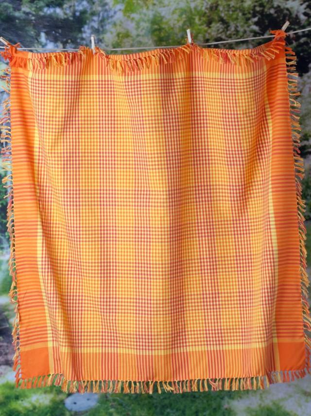 Orange Plaid Kitchen Curtains