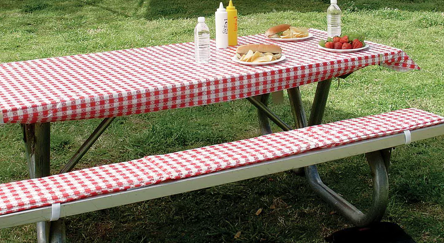 metal cloth charming furniture using red decoration cushion room tartan for picnic dining interior gorgeous vinyl steel of pictures and along table with bench outdoor cushions home