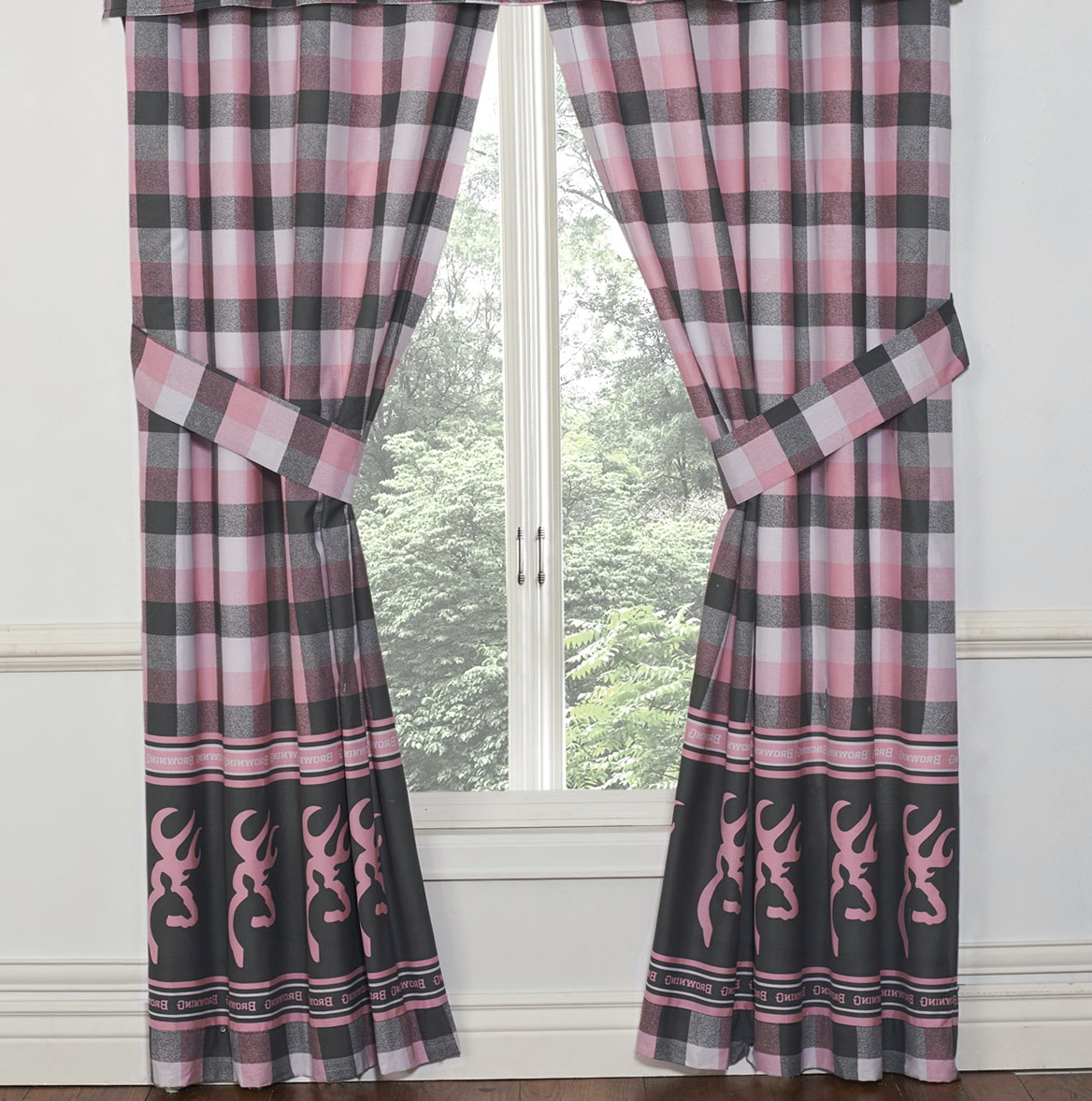 Pink And Gray Window Curtains